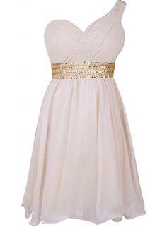 One Shoulder Jewel Dress,  Dress, champagne dress, Chic