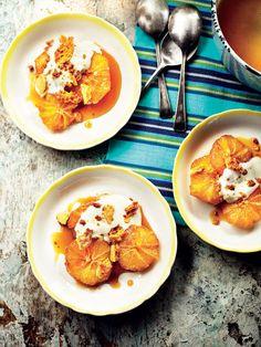 Caramelized oranges with orange flower yogurt and honeycomb