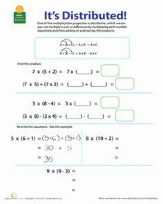 Third Grade Multiplication Worksheets: Properties of Multiplication: Distributive