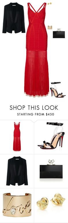 """Birthday party"" by stylev ❤ liked on Polyvore featuring Hervé Léger, Christian Louboutin, Alexander Wang, Charlotte Olympia, Lanvin and Gucci"