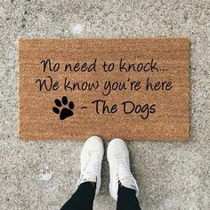 Dog Mom Discover No Need To Knock We Know Youre Here Dog Doormat Dog Lover Funny Doormat Wedding Gift Closing Gift Housewarming Gift Welcome Mat Diy Pet, Funny Doormats, Dog Rooms, Dog Quotes, First Home, Dog Life, Fur Babies, Chihuahua, Dog Lovers
