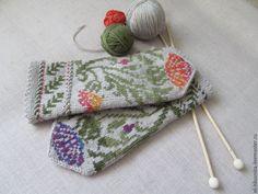 Купить Варежки вязаные женские с орнаментом Август сиреневый - цветочный, варежки, варежки ручной работы