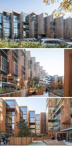 The edge of the modern building which is closest to the street, has been pushed down, creating a softer and more welcoming edge for those walking past. #BuildingDesign #ResidentialBuilding #WoodArchitecture