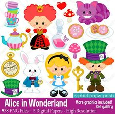 Alice in Wonderland Clipart, Clip Art and Digital paper set, graphics for party and crafts Alice Eva, Art And Craft Videos, Diy Videos, Crafts For Kids, Arts And Crafts, Alice In Wonderland Party, Alice In Wonderland Clipart, Project Yourself, Art Images