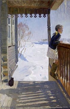 Sidorow Walentin Michailowicz «The Sun Russian Painting, Russian Art, Art And Illustration, Painting Snow, Painting & Drawing, Soviet Art, Country Art, Winter Art, Beautiful Paintings