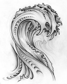 Haley's Page, Wave Drawing Biomech Tattoo, Hawaiianisches Tattoo, Ring Tattoos, Yakuza Tattoo, New Tattoos, Tattoo Drawings, Sleeve Tattoos, Wave Tattoo Sleeve, Shape Tattoo