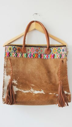 85d299302ed Mil Soles Brown Cowhide Brown Print Bag