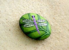 Purple dragonfly on chartreuse leaf, painted rock ooak collectible garden art for Mom on Mother's Day, handmade by RockArtiste, $20.00
