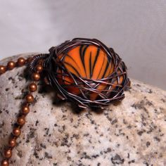 BOWLERITE! Tiger Stripe Bowling Ball Cabochon Wire Wrapped by aGipsyWind on Etsy