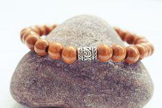 Brown Beaded Bracelet | Wood Bead Bracelet | Mens Elastic Bracelet  Simple Mens Bracelet