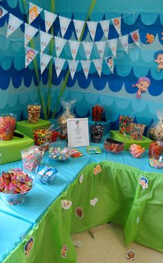 Candy Table. Bubble Guppies. First Birthday Party. First Birthday. Kidsu2026 & birthday party backdrop with streamers | Coloring Parties ...