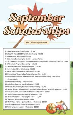 Here is a selected list of September Scholarships on The University Network Undergraduate Scholarships, Scholarships For College, College Students, Saving For College, College Hacks, Dont Text And Drive, College Survival Guide, College Club, Essay Contests