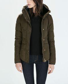 ZARA Woman BNWT Khaki Fitted Short Anorak Puffer Jacket XS 8073/222