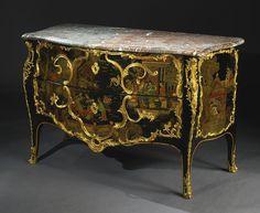 Louis XV ... 18Centhury Orientalismo Cómoda lacada con aplicaciones de bronce dorado (ormulu)