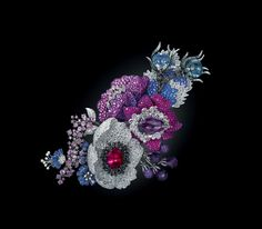 Purple and blue flower brooch by Michelle Ong featuring white and black diamonds, rubies, blue, pink and purple sapphires, amethysts, rubellites and topaz set in titanium.
