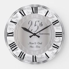 Shop Classy Silver Anniversary Large Clock created by DesignsbyDonnaSiggy. Personalize it with photos & text or purchase as is! Anniversary Clock, Wedding Anniversary Celebration, Silver Anniversary, Wall Clock Elegant, Sparkle Wedding, Clock Decor, Large Clock, Keep It Cleaner, Classy