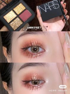 beauty Soft Eye Makeup, Peach Makeup, Simple Eye Makeup, Cute Makeup, Pretty Makeup, Eyeshadow Makeup, Skin Makeup, Makeup Korean Style, Korean Eye Makeup
