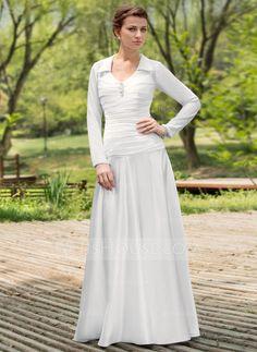 A-Line/Princess Scoop Neck Floor-Length Chiffon Charmeuse Wedding Dress With Ruffle Beading (002012022)