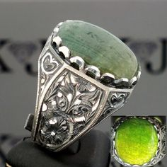Sterling Silver Mens ring with Jade unique jewelry
