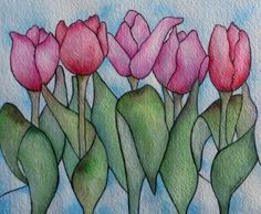 Five Maids Of Spring, Original Watercolour & Ink.  Pink Tulips painted in the style of stained glass, remind me of confident, young maidens, happily dancing in the early morning breeze as they beckon in Spring! By artist Laura Leeder