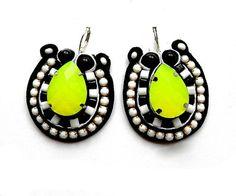 £40 #trendy #black #black #white #neon #yellow #lime #embroidery #beaded #soutache #sutasz #uk #etsy #handmade #blackmarketjewels