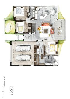 Real Estate Color Floor Plan and Elevation 4 by Boryana, via Behance watercolour plans