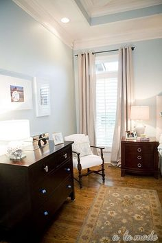 And of course, you will all love the master bedroom.  I noticed that her wall color is Comfort Gray, on the same Sherwin Williams color strip with Sea Salt, which is all over blogland these days.  I can see why!