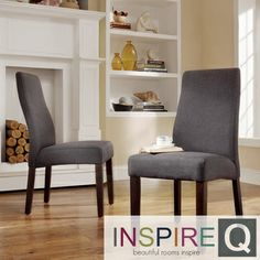 INSPIRE Q Marcey Dark Grey Fabric Wave Back Dining Chair Set Of 2 By