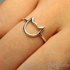 Handmade Jewelry  Ring  Cat  Sterling Silver 925 by Katstudio, $21.00