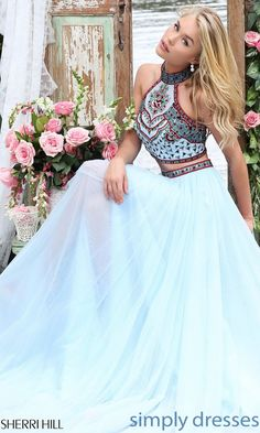 Dresses, Formal, Prom Dresses, Evening Wear: Sherri Hill Two Piece Dress with Embroidered Top #beautifulpromdresses