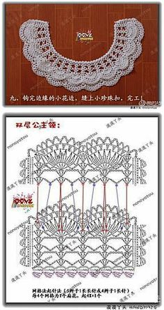 Vintage Crochet Lace Collar Blessings for Crochet Collar Pattern, Col Crochet, Crochet Lace Collar, Crochet Lace Edging, Crochet Chart, Irish Crochet, Crochet Flowers, Crochet Stitches, Crochet Patterns