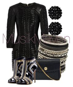 Black 'n Gold by musikmaven on Polyvore featuring polyvore, fashion, style, Balmain, CÉLINE, ALDO, Roman and clothing