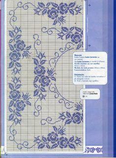 nice pattern for filet crochet Cross Stitch Rose, Cross Stitch Borders, Cross Stitch Flowers, Cross Stitch Charts, Cross Stitch Designs, Cross Stitching, Cross Stitch Embroidery, Cross Stitch Patterns, Stitch 2