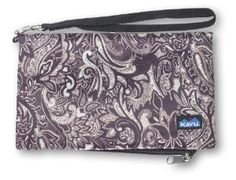 KAVU Clutch-n-go Wallet (Plum Paisley, 4.5 x 7.5-Inch) by KAVU. $21.09. External snap to clutch. 4.5-Inch x 7.5-Inch Folded. Bi-fold purse with snap closure. 9-Inch x 7.5-Inch Unfolded. Internal zip pocket. Bi-fold purse with snap closure, external strap to clutch, removable wrist loop, zip coin pouch, credit card and ID slots and internal zip pocket for cash receipts and phone numbers