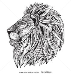 Illustration about Ethnic patterned ornate hand drawn head of Lion. Black and white doodle illustration. Sketch for tattoo, poster, print or t-shirt. Illustration of ethnic, africa, african - 65009920 Mandala Art, Mandala Drawing, Black And White Doodle, Black Art, Tattoo Posters, Lion Drawing, Lion Tattoo Design, Lion Art, Illustration Sketches