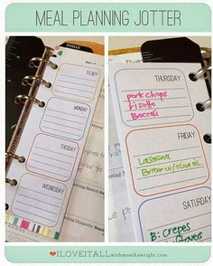meal planning | download for your Flilofax or faux Filofax planner.  Print, fold, punch holes, done!