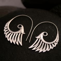 Large feather wing earrings