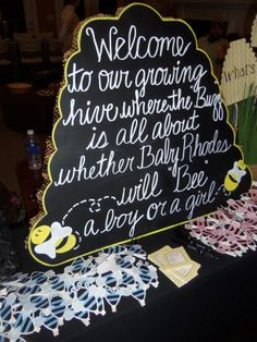 Bee babyshower party sign.
