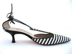 Manolo Blahnik striped canvas kitten heels. #WishList