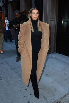 A look back at the fashion history of the camel coat: Kim Kardashian