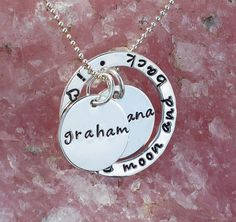 Personalized Necklace for Mothers -  Hand Stamped Sterling Silver - I Love You To The Moon And Back - Custom Engraved. $57.00, via Etsy.