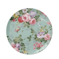Vintage Elegant Pink Red Roses Pattern Party Plate from Zazzle.com