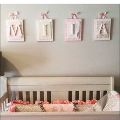 Nursery letters Hanging Wall LettersPersonalized lettersPink and Cream Nursery LettersWooden Nursery Letters Baby Letters Wood Letters Nursery Letters Girl, Wooden Letters For Nursery, Hanging Letters On Wall, Baby Letters, Nursery Name, Letter Wall, Wood Letters, Girl Nursery, Nursery Decor