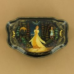 Cinderella Palekh Village Russian Lacquer Box $450.00 - Handpainted