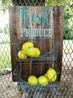 Produce wall holder wire basket fruit and by BlackSheepHome