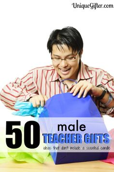Men can be hard to shop for! Here are 50 male teacher gifts to inspire, there are definitely ideas in here to pin for later, I won't be stumped again. Male Teacher Christmas Gift, Male Teacher Gifts, Teacher Thank You, Christmas Gifts For Men, Male Gifts, Male Teachers, Christmas Ideas, Teacher End Of Year, Back To School Teacher