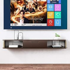 QINGYANG Wall-Mounted TV Cabinet,Floating Shelf Wall Shelf,for Cable Boxes/Routers/Remotes/DVD Players/Game Consoles(Two Colors) (Color : Dark Brown) Dvd Player Shelf, Dvd Players, Dvd Storage, Retro 4, Cable Box, Shelf Wall, Wall Mounted Tv, Tv Cabinets, Floating Shelves