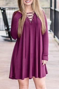 Trendy Lace-Up Tunic- Deep Plum Dress- $34- Juliana's Boutique