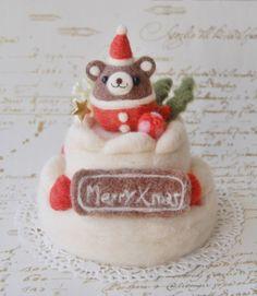 羊毛フェルト:ころくまちゃんのクリスマスケーキ