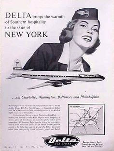 1956 Delta Airlines stewardess and plane pic vintage print ad Retro Airline, Airline Travel, Air Travel, Travel Ads, Retro Advertising, Vintage Advertisements, Vintage Ads, Vintage Prints, Delta Flight